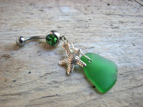 Green,Sea,Glass,and,Starfish,Belly,Button,Piercing,silver starfish belly ring, green sea glass belly rings, ocean belly rings, beach navel rings, nautical belly button jewelry, genuine sea glass, surgical steel belly bar, 14 gauge, hand made body jewelry, beach glass jewelry, starfish jewelry, sea star, s