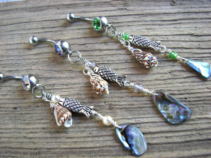 Long Belly Ring Bars, Abalone Shell Beach Dangles - product images  of