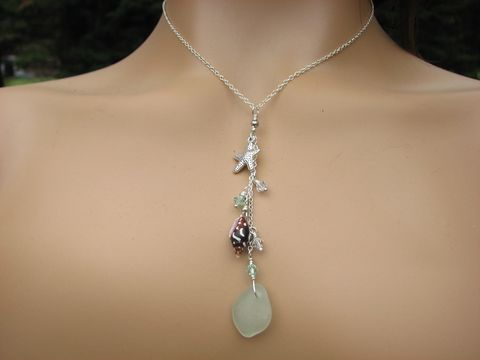 Sterling,Silver,Long,Chain,Pendant,Starfish,,Shell,and,Sea,Glass,Necklace,choker style, 16 inch necklace, sterling silver sea glass, sea glass necklace, long dangle pendant, sea shell, crystal, starfish necklace, seafoam sea glass, ocean necklace, dangly charm necklace, beach style jewelry, starfish jewelry, handmade sea glass