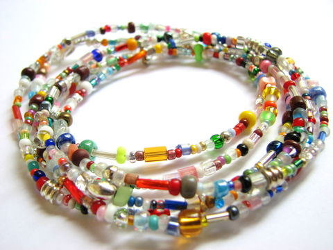 Long,Hippie,Bead,Necklace,retro bead necklace, multi color beads, 50 inch bead chain, hippie jewelry, retro jewelry, long bead necklace, rainbow colored necklace, assorted colors, glass seed beads, silver lobster claw closure, casual necklace, versatile necklace, changeable neckla