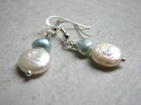 Surf,and,Sand,Pearl,Earrings,fresh water pearl, coin pearl, disc pearl, blue pearl earrings, blue and white earrings, ocean earrings, freshwater pearl earrings, bridal earrings, beach bride jewelry, fresh pearl jewelry, coin bead earrings, surf and sand jewelry, aqua blue, baby blue
