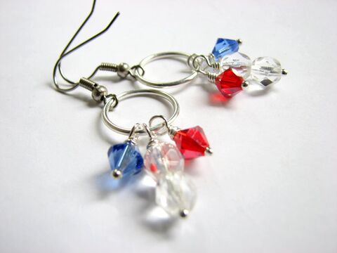 USA,4th,of,July,Earrings,usa jewelry, 4th of july jewelry, beaded patriotic earrings, independence day earrings, crystal 4th of july earrings, red white and blue earrings, flag earrings, Fourth of July earrings