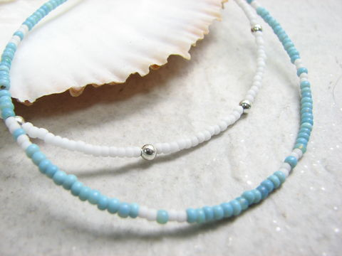 Turquoise,Blue,or,White,Skinny,Bead,Anklet,Bracelet,bead anklet, turquoise ankle bracelet, white ankle jewelry, delicate anklet, skinny bead ankle bracelet, bridal anklet, blue and white, thin ankle bracelets, seed bead anklet, thin anklet stacked anklets