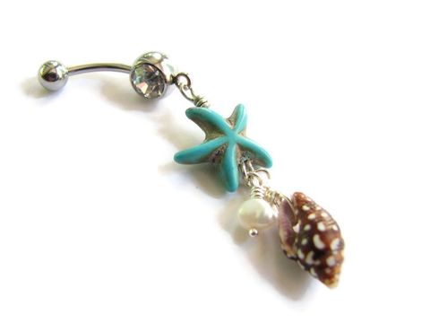 Sea,Shell,,Pearl,and,Starfish,Belly,Ring,sea shell belly ring, seashell belly, nautical belly ring, ocean belly button rings, belly button jewelry, starfish navel piercing, starfish belly ring, turquoise blue starfish, polka dot shell, fresh water pearl