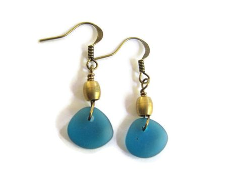Teal,Blue,and,Brass,Sea,Glass,Earrings,sea glass drop earrings, seaglass drop earrings, teal blue sea glass, coastal earrings, small earrings, brass earrings, brass drop earrings, bits off the beach, bohemian earrings, small dangles, dark aquamarine, beach jewelry for women, cultured sea glass