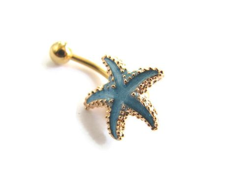 Aqua,Blue,and,Gold,Surgical,Steel,Starfish,Belly,Button,Ring,aqua, blue, gold, 14k gold plate belly bar, starfish belly ring, short belly button ring, ocean navel piercing, enameled starfish, starfish body jewelry, beach piercings, cute belly rings, star fish belly, sea star belly, bellybutton rings, belly butt