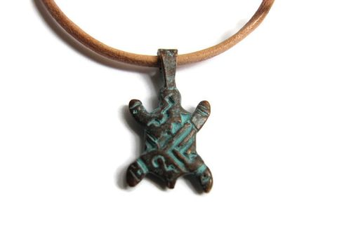 Verdigris,Patina,Copper,Turtle,Pendant,,Tribal,Boho,Leather,Necklace,green copper charm, sea turtle, turtle, pendant necklace, beach jewelry, coastal necklace, green leather, teal leather, dyed leather cord necklace, copper clasp, copper turtle, rustic, boho, tribal, stylized Mykonos casting charm, mens womens,
