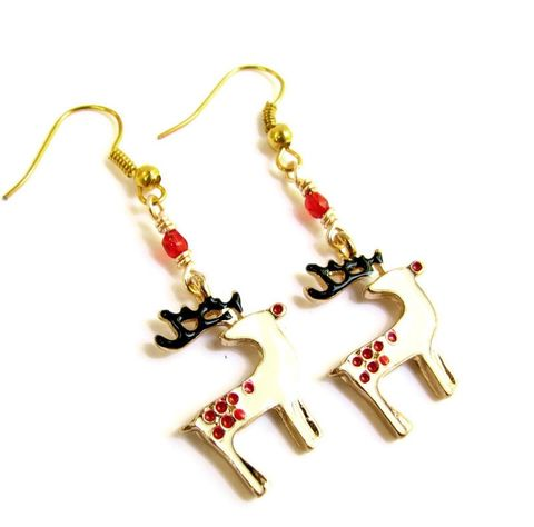 Christmas,Reindeer,Earrings,teen girl gifts, christmas gifts, christmas belly button rings, holiday belly rings, santas reindeer, christmas body jewelry, christmas earring dangle, rudolph earrings, gold animal earrings, stocking stuffers for women, handmade holiday jewelry, retro