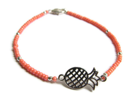 Beaded,Pineapple,Ankle,Bracelet,,coral bead anklet, orange ankle bracelet, beaded anklet, pineapple anklet, dainty bead anklet, seed beads, tiny beads, silver pineapple, pineapple charm, ankle jewelry, tropical jewelry, exotic fruit jewelry, food charm anklet