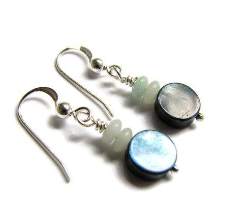 Grey,Abalone,Shell,and,Amazonite,Dangle,Earrings,abalone earrings, shell earrings, amazonite and shell jewelry, small abalone jewelry, gray shell earrings, small ocean jewelry, small grey earrings, grey and blue, paua shell earrings, paua shell jewelry, grey shell, iridescent shell, amazonite earrings,