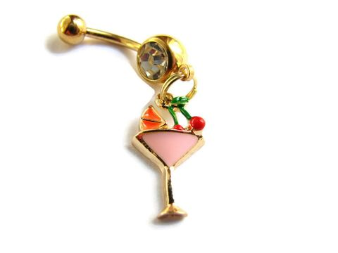 Gold,Tropical,Cocktail,Belly,Button,Jewelry,tropical drink charm belly button ring jewelry, fruit garnished beach cocktail glass navel ring piercing, pink and gold alcohol drink glass with cherries and orange garnish, gold titanium anodized stainless steel 14 GA gauge belly bar barbell
