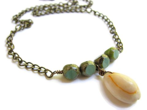 Cowrie,Shell,Necklace,,Blue,Beaded,Boho,Jewelry,boho pendant necklace, beach shell necklace, cowry shell necklace, summer necklace, tropical vacation jewelry, blue green beaded necklace, blue shell necklace, green shell necklace, boho cowrie jewelry, natural sea shell jewelry, rustic shell necklace, ca