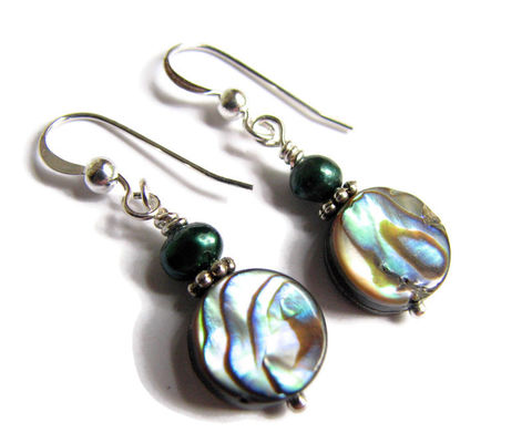 Abalone,and,Pearl,Earrings,,Green,Paua,Shell,abalone earrings, green shell earrings, green sea shell jewelry, abalone and pearl, pearl and abalone, green paua shell earrings, sea shell dangles, green beach earrings, small shell earrings, dainty abalone earrings, green abalone jewelry, green fresh wa