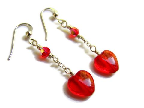 Sterling,Silver,Red,Heart,Earrings,sterling silver heart earrings, red heart jewelry, valentines day earrings, silver dangle with hearts, girlfriend earrings, sweetheart earrings, romantic earrings, Valentines Day Presents, Handmade heart earrings,