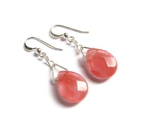 Glass,,Pink,Rose,Quartz,Tear,Drop,&,Sterling,Earrings,rose quartz earrings, pink tear drop earrings, sterling silver pink earrings, rose quartz jewelry, pink jewelry, pink Valentine's Day Jewelry, Feminine earrings, small drop earrings, sparkling pink, fancy earrings, Valentines Day gifts,