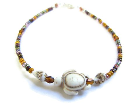 White,Sea,Turtle,and,Shell,Anklet,with,Golden,Brown,Seed,Beads,turtle anklet, sea turtle jewelry, white sea turtle, white stone turtle, sea shell anklet, shell ankle bracelet, turtle ankle bracelet, golden brown seed bead anklet, sparkly brown beads, custom size  anklet, beach anklet, ocean, coastal, nautical, whimsi
