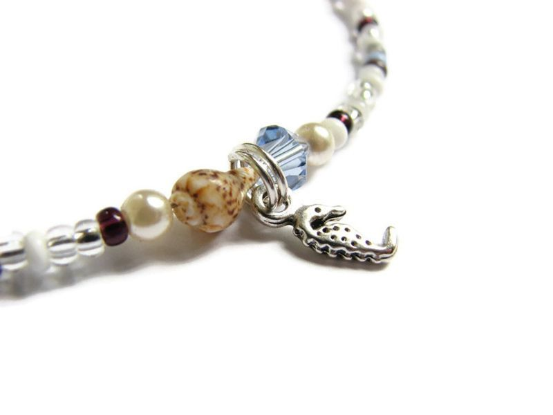 Silver Sea Horse Anklet, Dainty Seed Bead Beach Jewelry - product images  of