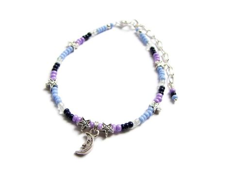 Moon,and,Stars,Anklet,with,Seed,Beads,moon anklet, star anklet, seed bead anklet, celestial anklet, dainty ankle bracelet, night skies, blue and purple, silver moon, silver stars, adjustable anklet, women moon jewelry, leg jewelry, solar jewelry,