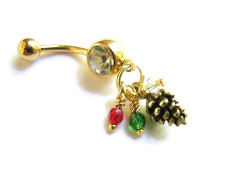 Christmas,Pine,Cone,Belly,Rings,with,Gold,Titanium,Bar,pinecone forest fir cone tree gold festive winter autumn, teen, women small gifts, stocking stuffers Christmas belly button rings piercings navel titanium belly bar short small dangle red green and gold hand made crafted bitsoffthebeach detailed life-like