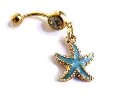 Blue,and,Gold,Starfish,Belly,Button,Piercing,gold belly ring, starfish belly button ring, blue enamel starfish, bellybutton rings, aqua blue, beach navel jewelry, ocean body jewelry, anodized titanium belly bar, bits off the beach, nautical, sea star, dangle, hand crafted, navel pier