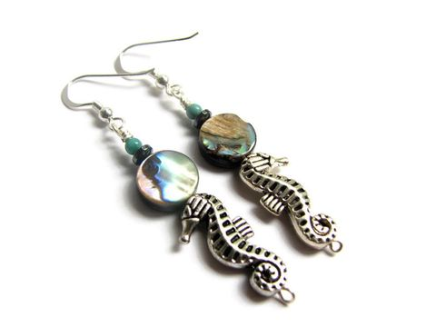 Turquoise,and,Abalone,Seahorse,Dangle,Earrings,seahorse earrings, sea horse, abalone earrings, abalone shell jewelry, sea shell earrings, Paua shell earrings, beaded nautical earrings, sterling silver, beach jewelry, seahorse jewelry, handcrafted