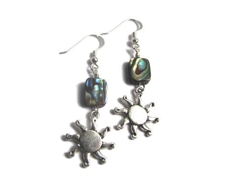 Sunshine,and,Paua,Shell,Abalone,Earrings,dangle, drop, sunshine, sunny, sun, earrings, ear jewelry, sterling silver, seashell earrings, sea shell jewelry, abalone jewelry,  french hook, paua shell, boho sea earrings, abalone shell, sun charm, silver, beach earrings, beach theme gifts, blue green