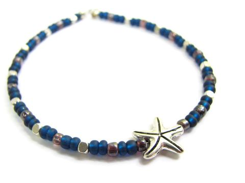 Beaded,Starfish,Ankle,Bracelet,in,Navy,Blue,&,Silver,,Simple,Ocean,Anklet,starfish, sea star, nautical, ocean, beach, ankle bracelet, anklet, ankle jewelry, leg jewelry, navy blue, silver, slim, beach wedding, bikini wear, charm, bead, beaded, custom sizes, handmade, bits off the beach, dark blue, blue