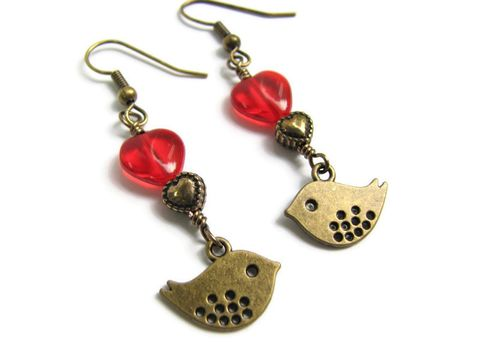 Little,Brass,Love,Bird,Dangle,Earrings,with,Red,and,Gold,Heart,Beads,love birds, little birds, brass birds, dangle earrings, rustic, boho, bohemian, red hearts, gold hearts, romantic earrings, valentine earrings, little bird jewelry, sparrow earrings, gold bird earrings