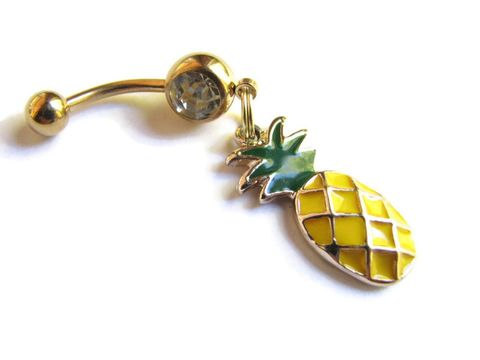 Gold,Pineapple,Belly,Ring,on,14K,Plated,Bar,pineapple belly ring, belly button ring, belly button piercing, navel rings, Hawaiian jewelry, titanium belly bar, anodized stainless steel, gold, pineapple charm jewelry, hospitality fruit, tropical fruit jewelry, vacation jewelry, charm dangle bellybutt