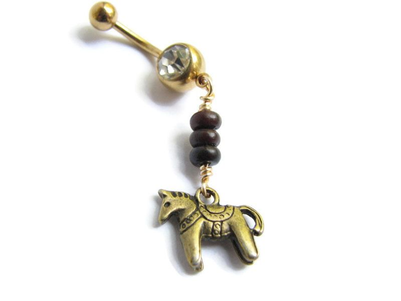 Gold Belly Button Rings with Dala Horse and Jasper Beads - product images  of