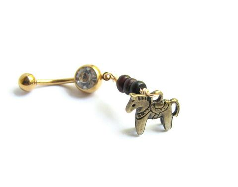Gold,Belly,Button,Rings,with,Dala,Horse,and,Jasper,Beads,Gold belly button rings,charm belly rings, gold plated, dala horse jewelry, dala horse belly ring, horse jewelry, toy horse, swedish horse, sweden horse, cherry creek jasper, gold belly bar, charm belly button ring, gold belly bu