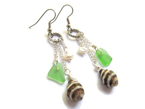 Dangle,Chain,Earrings,with,Sea,Glass,,Shells,and,Pearls,long dangle earrings beach ocean nautical sea glass green zebra shell seashell seaglass, bits off the beach, shell earrings, sea glass earrings, beach earrings, beach gifts, ocean gifts, ocean wear, beach wear, casual resort jewelry, sea glass jewelry, cr