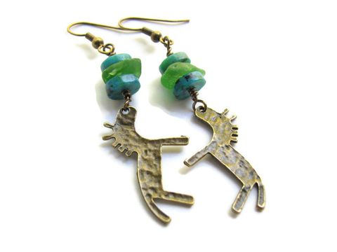 Brass,Horse,Earrings,,Seaglass,and,Chrysocolla,Beaded,Dangles,Brass Horse Earrings Seaglass and Chrysocolla Beaded Dangles, Sea Glass Earrings, Primitive Horse Charm, Brass Earrings, Beaded Dangles, Equine Jewelry, Horse Jewelry, Brass Charm Jewelry, blue and green bead earrings