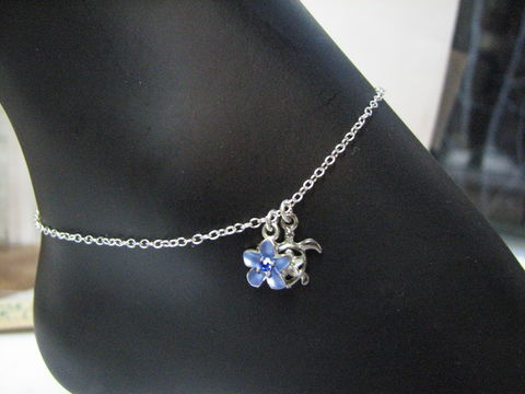 Custom,Ankle,Bracelet,for,Lisa,anklet, sterling silver, ankle bracelet, sea turtle, flower