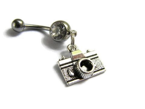 Camera,Belly,Button,Piercing,Ring,,Photographer,Jewelry,camera jewelry, photography gifts, Poloroid belly bar, surgical steel, belly ring, belly button jewelry, camera charm, photographer body jewelry, retro belly piercing, dangle belly rings, vacation jewelry, travel gifts, traveler jewelry, camera navel ring