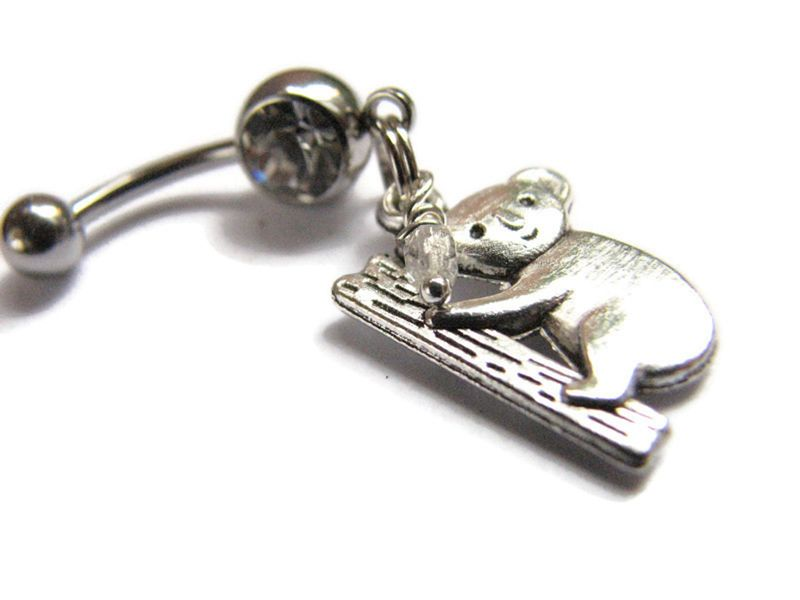 Koala Bear Charm Belly Button Ring - product images  of