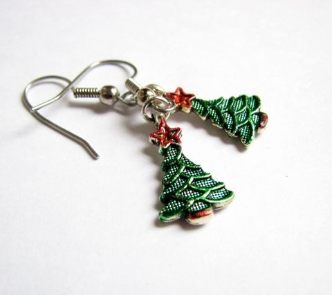 Hand,Painted,Christmas,Tree,Earrings,christmas, holiday, christmas tree jewelry, silver christmas tree, painted christmas tree, holiday tree earrings, dangle earrings, christmas tree earrings, festive jewelry