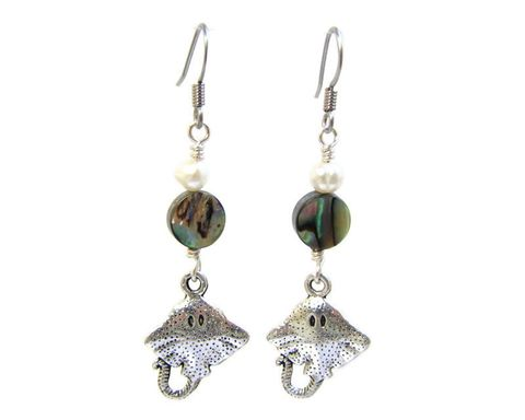 Abalone,and,Pearl,Earrings,with,Stingray,Charm,stingray earrings, stingray charm jewelry, abalone dangle earrings, sea shell accents, tropical beach jewelry, ocean cruise jewelry, Cayman Island jewelry, beach earrings, ocean animal, manta ray earrings, long dangles, hand crafted ocean jewelry, fish
