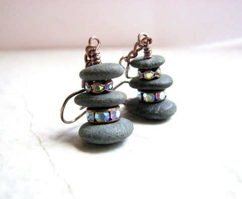 Beach,Stone,and,Crystal,Stack,Earrings,natural stone earrings, beach rock jewelry, ocean stone earrings, dark grey beach stones, drilled beach rock, rustic copper jewelry, crystal and stone earrings, handmade artisan antiqued copper earrings, glam rustic, boho jewelry, natural nature jewelry,