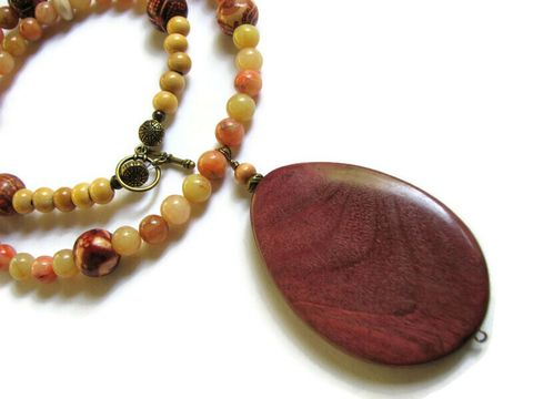 Wood,Pendant,and,Lemon,Jade,Statement,Necklace,Pendant necklace, Bold necklace, statement necklace, Costa Rica wood, yellow jade, brass, beaded necklace, wood jewelry, toggle clasp, dark wood necklace, natural wood, large handmade pendant, long necklace, lemon beads, yellow jewelry, ethnic necklace, n