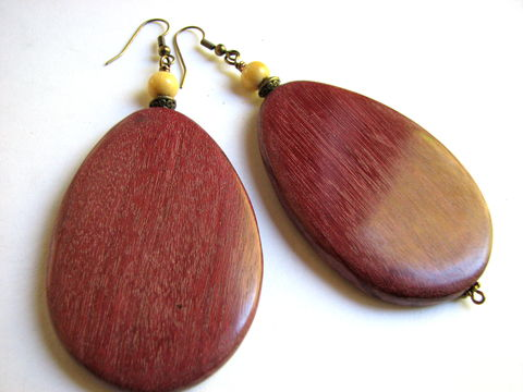 Large,Wood,Tear,Drop,Earrings,Large wood earrings, wooden teardrops, chunky earrings, statement earrings, ethnic wood jewelry, Big earrings, costa rican wood jewelry, brass ear wires,  purple heart wood, teardrop earrings, tear drop earrings