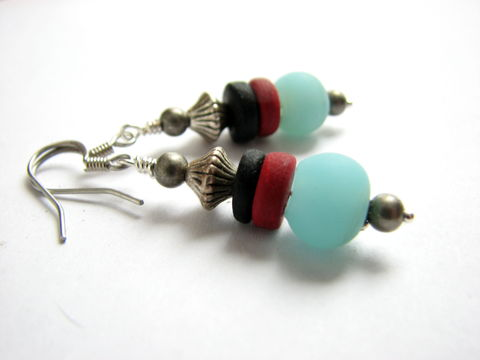 Bohemian,Sea,Glass,Blue,Bead,Earrings,boho earrings, blue sea glass, recycled sea glass bead, aqua blue bead earrings, matching earrings, turquoise red and black, beaded earrings, rustic sea glass earrings, earthy seaglass jewelry, handmade earrings, bead drop earrings