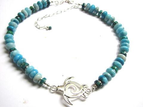 White and Blue Turtle Bracelet Chunky  Beach Jewelry with a Seahorse charm. Bold Seaglass Bracelet