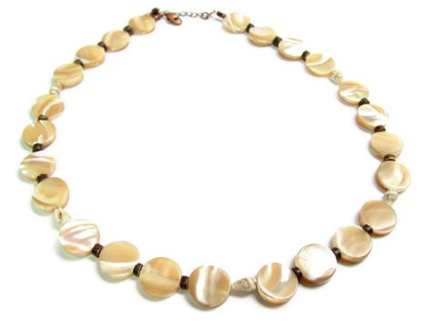 Mother,of,Pearl,Coin,Bead,Shell,Necklace,tropical necklace, summer jewelry, ethnic shell necklace, tribal jewelry, natural mother of pearl, coconut bead accents, MOP coin bead necklace, flat coin beads, Mother of Pearl jewelry, yellow, maize, white, brown