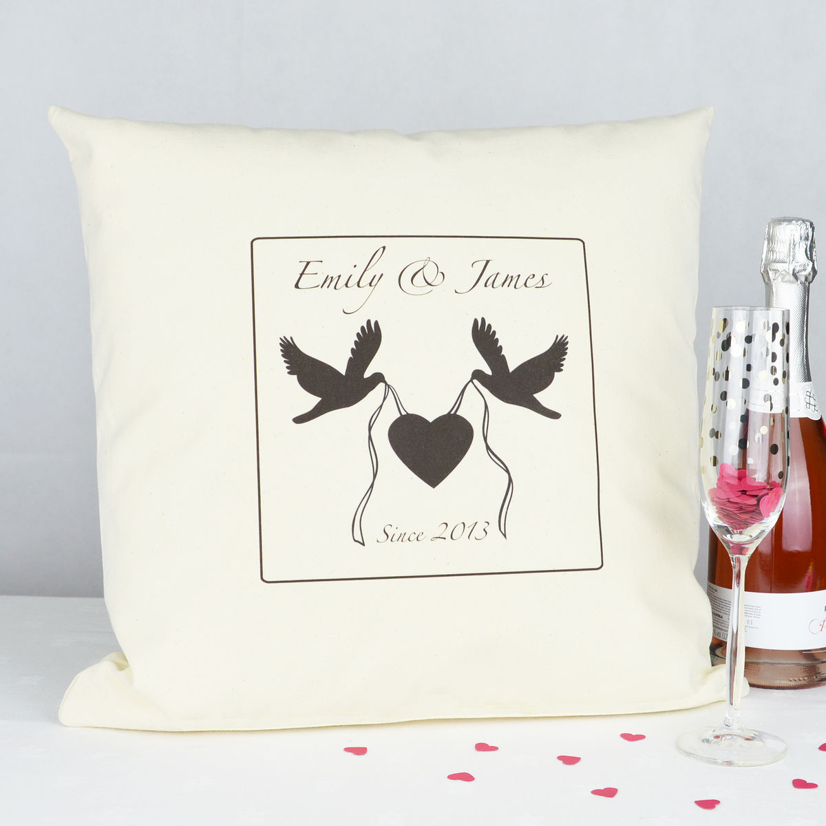 Personalised Love Birds Valentine Cushion - product images  of