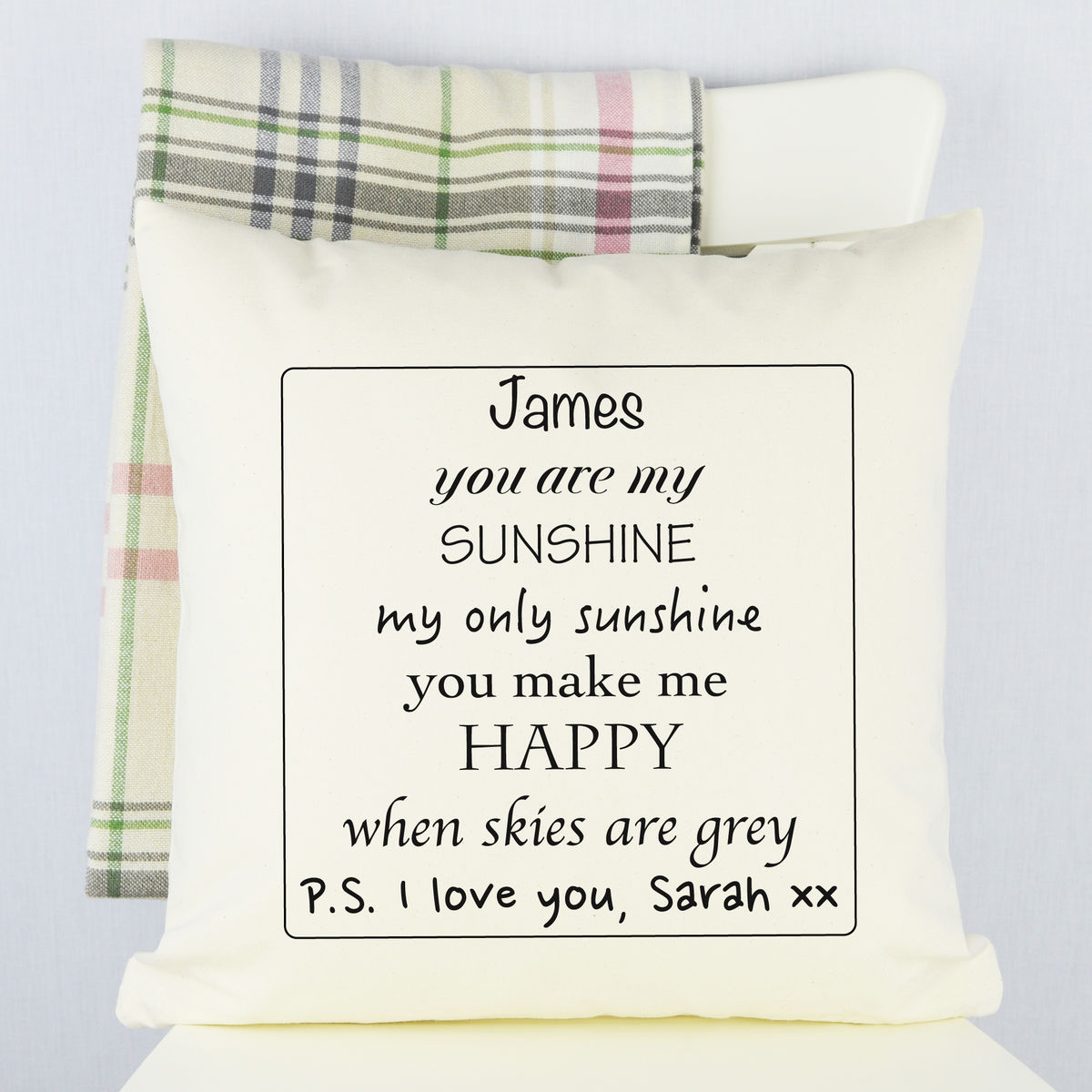 Personalised You Are My Sunshine Cushion - product image