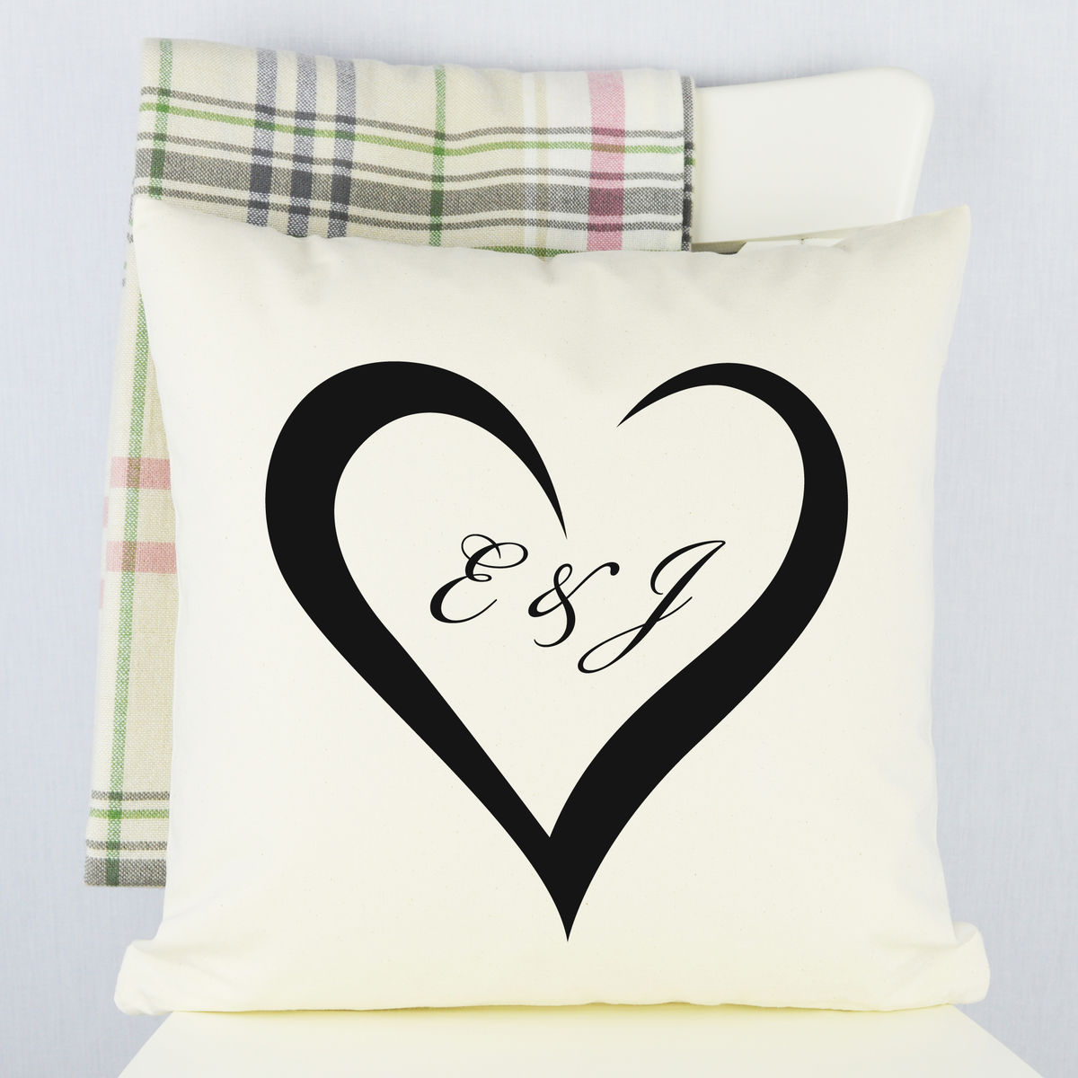 Personalised Engagement Gift Heart Cushion - product image