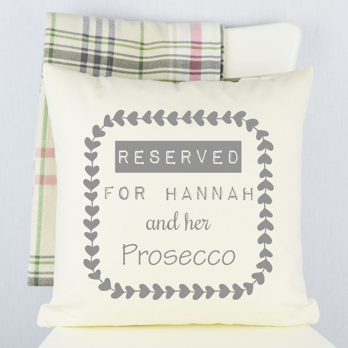 Personalised Prosecco Cushion - product image