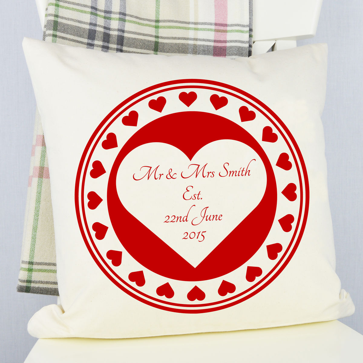 Personalised Heart Wedding Cushion - product image