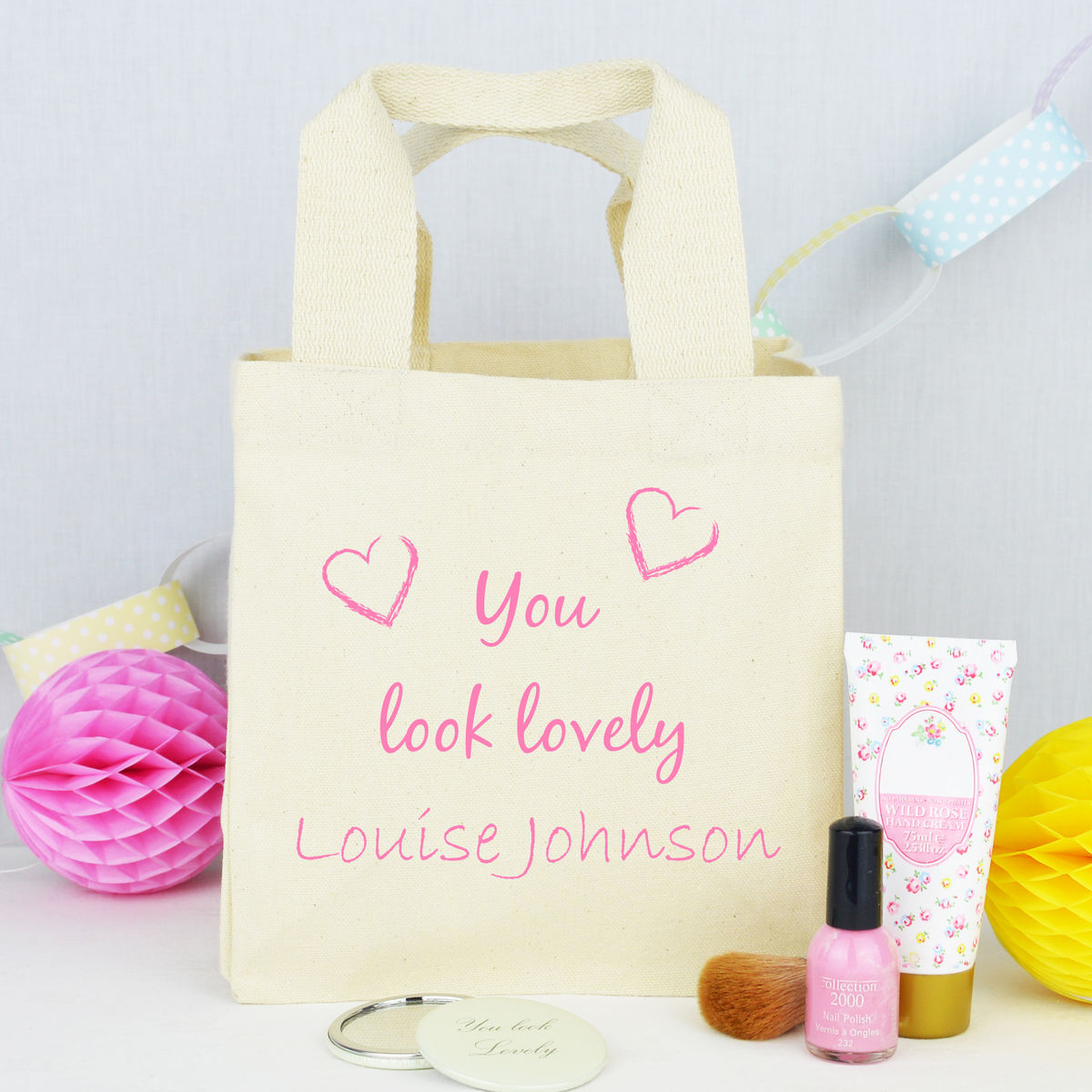 Personalised 'You Look Lovely' Make Up Bag - product image